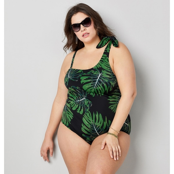 AVENUE Women's One Shoulder Tropical Leaf Swimsuit With Tummy Control - Multi Color