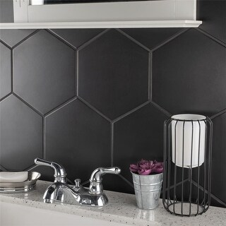 SomerTile 8.625x9.875-inch Textilis Black Hex Porcelain Floor and Wall Tile (25 tiles/11.56 sqft.)