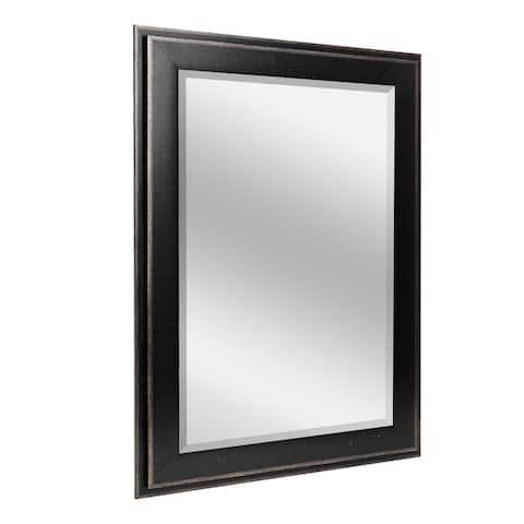 Head West 29.5 x 35.5 Black Two-Step Beveled Mirror - 29.5 x 35.5