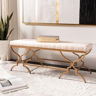 "Link to Safavieh Juliet Rectangular Bench - Beige / Gold - 46"" x 18"" x 18"" - 46"" x 18"" x 18"" Similar Items in Living Room Furniture"
