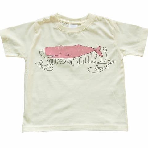 Toddler Save The Whales Design Light Yellow T-Shirt