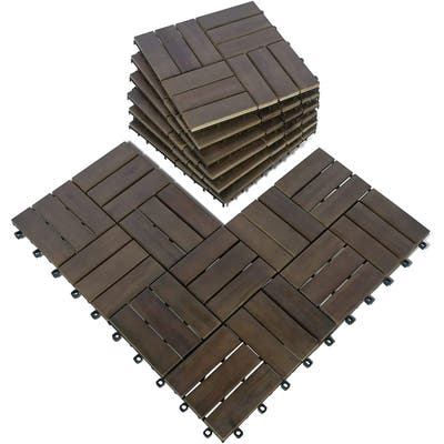 Mcombo Wood Outdoor Flooring, Interlocking Deck Tiles Solid Wood Acacia Deck Tiles for Patio Lawn Garden Balcony and Backyard