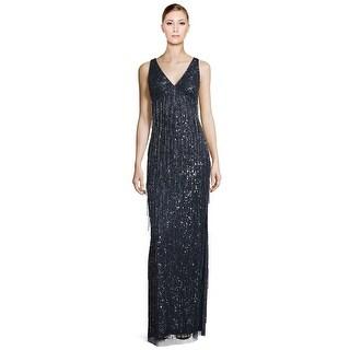 Aidan Mattox V-Neck Beaded Fringe Sleeveless Evening Gown Dress