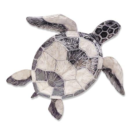 Sea Turtle Wall Decor Pewter Checkered - 4 x 24 x 21