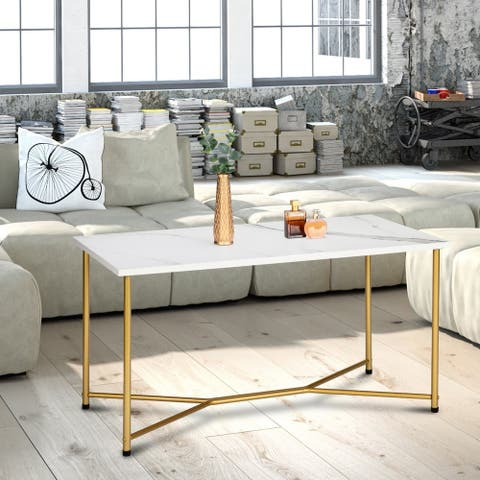 Mid Century Modern Rectangle Coffee Table Marble Gold