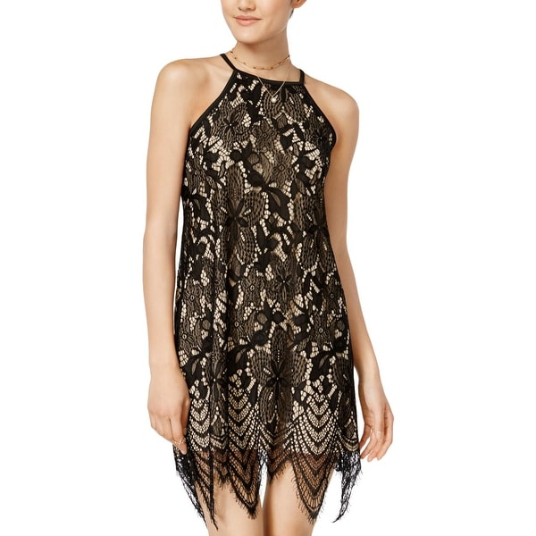 75fe2087e1 Love, Fire Womens Cocktail Dress Lace Overlay Halter - S