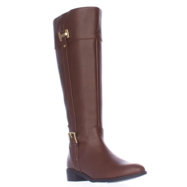 KS35 Deliee Wide-Calf Riding Boots, Cognac