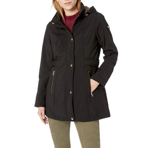 Jessica Simpson Womens Jacket Black Size Large L Hooded Snap-Button