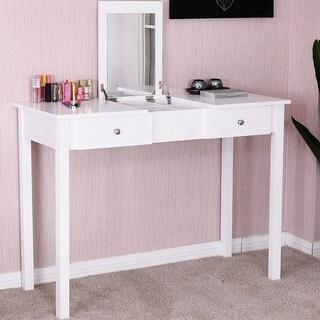 Costway Vanity Table Dressing Table Flip Top Desk Mirror 2 Drawers Furniture White