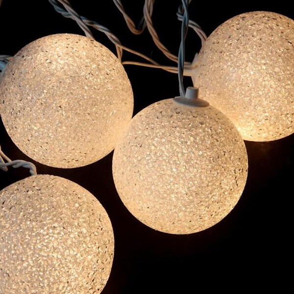 Set of 6 Shimmering White Lighted Twinkling Sphere Party Patio Wedding Christmas Lights - White Wire