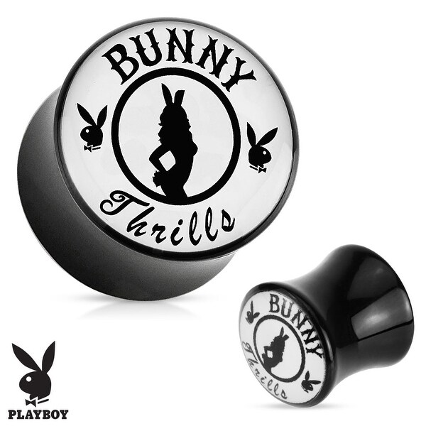 """Bunny Thrills"" Playboy Exclusive Pattern Black Acrylic Saddle Plug (Sold Individually)"