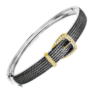 1/5 ct Diamond Buckle Bracelet in Sterling Silver and 14K Gold