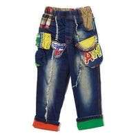 Rock'nStyle Baby Boys Blue Denim Letter American Flag Patches Pants - 18-24 months