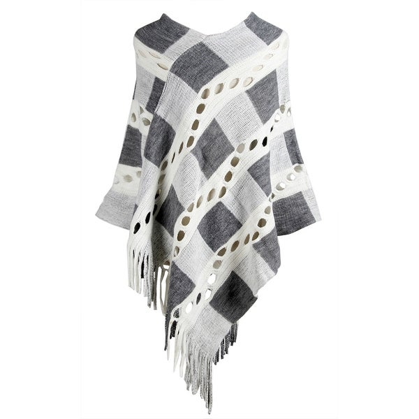 QZUnique Women Tassel Pullover Hollow out Knit Poncho Cape Shawl Cloak