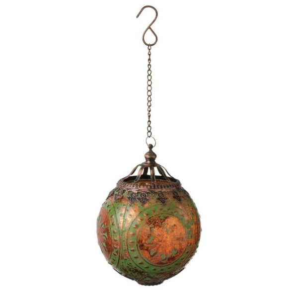 """5.25"""" Glass Distressed Green and Copper Medallion Christmas Ornament"""