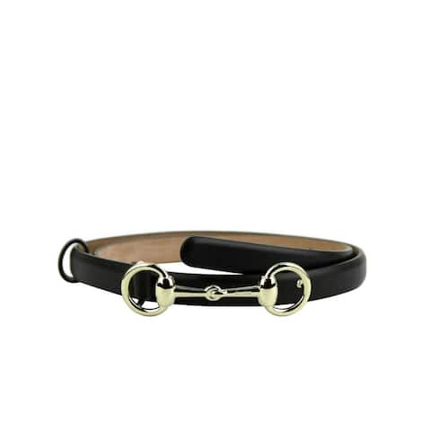 Gucci Women's Cocoa Brown Leather Skinny With Gold Horsebit Buckle Belt 282349 2140 (100 / 40)