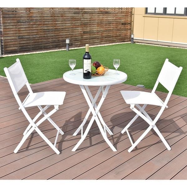 shop costway 3 pcs folding bistro table chairs set garden backyard patio furniture white free. Black Bedroom Furniture Sets. Home Design Ideas