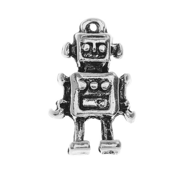 Lead-Free Pewter, Robot Charm 10x17mm, 2 Pieces, Antiqued Silver