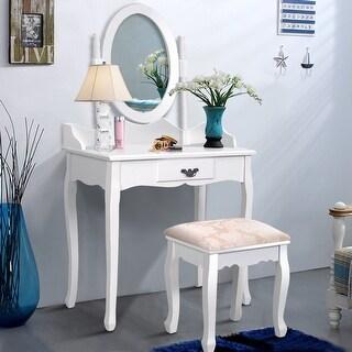 Costway Vanity Wood Makeup Dressing Table Stool Set Jewelry Desk W/ Drawer &Mirror bathroom White