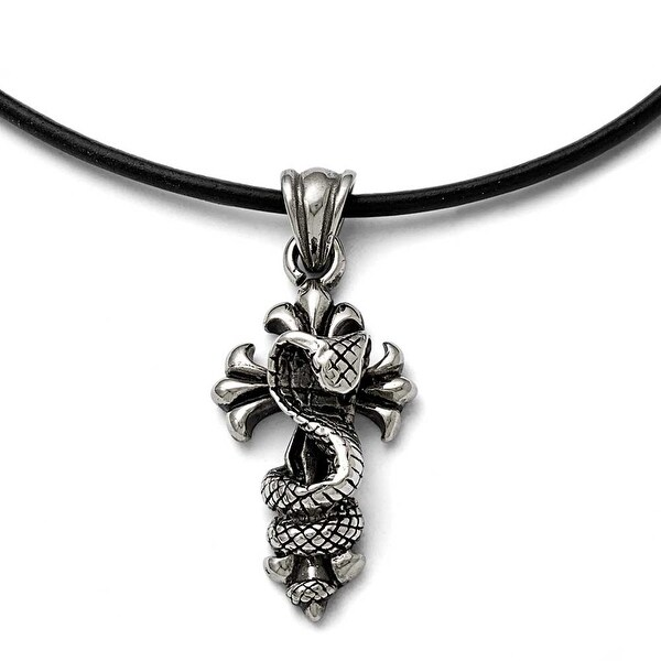 Chisel Stainless Steel Polished and Antiqued Snake and Cross Necklace - 20 in