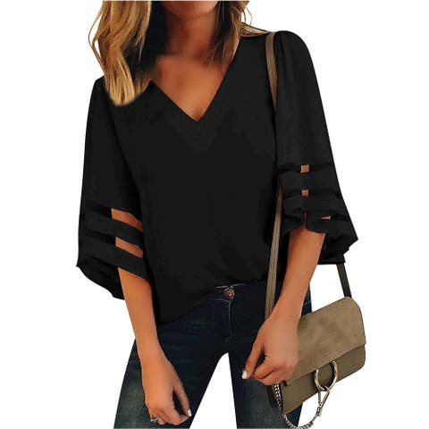 LookbookStore Women's Black V Neck Casual Mesh Panel Blouse 3/4 Bell Sleeve Solid Color Loose Top Shirt Size L(US 12-14) - Large