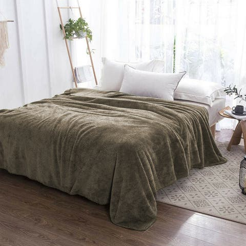 Soft Faux Fur Fleece Reversible Blanket Queen