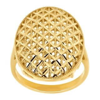 Just Gold Beaded Checkerboard Oval Ring in 10K Gold - Yellow