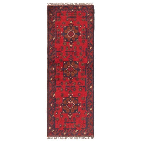 ECARPETGALLERY Hand-knotted Finest Khal Mohammadi Red Wool Rug - 1'9 x 4'11