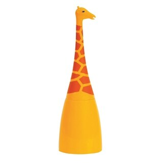 Boston Warehouse Giraffe Toilet Brush and Base - Animal Shaped Scrubbing Handle with Coordinating Caddy - 5 in. x 5 in. x 16 in.