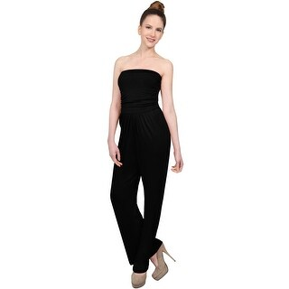 NE PEOPLE Women's Strapless Tube Top Wide Long Leg Rayon Jumpsuits