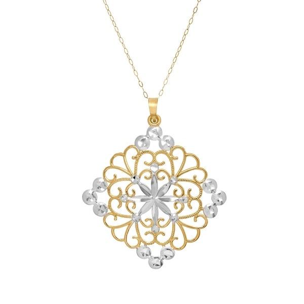 Eternity Gold Filigree Square Medallion Pendant in 10K White & Yellow Gold