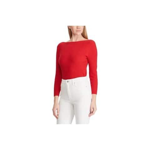 RALPH LAUREN Womens Red Long Sleeve Boat Neck Sweater Size XXL