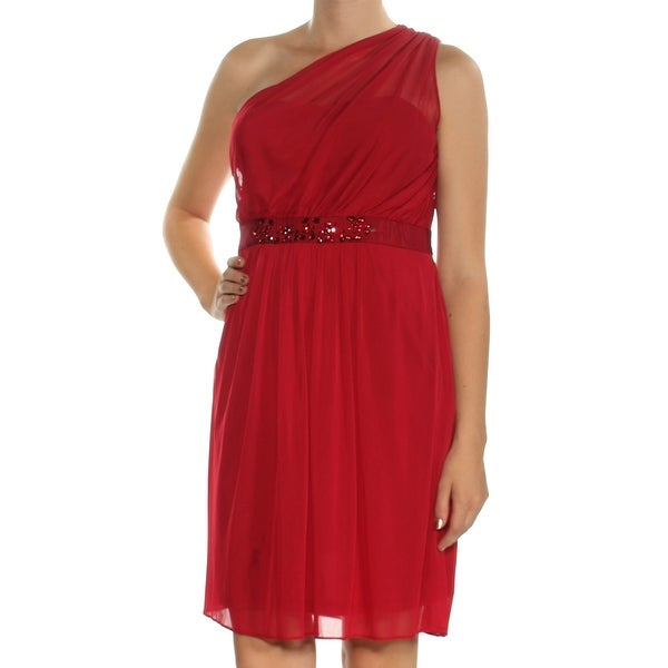 Shop Womens Red Sleeveless Above The Knee Fit Flare Formal Dress