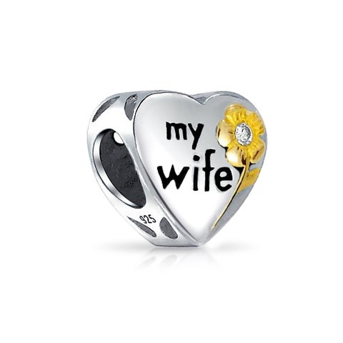 Bling Jewelry CZ Flower My Wife Gold Plated Heart Shaped Charm Bead .925 Sterling Silver