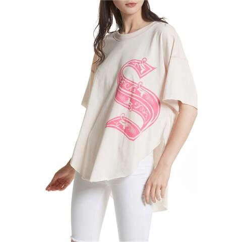 Free People Womens Letter Graphic T-Shirt