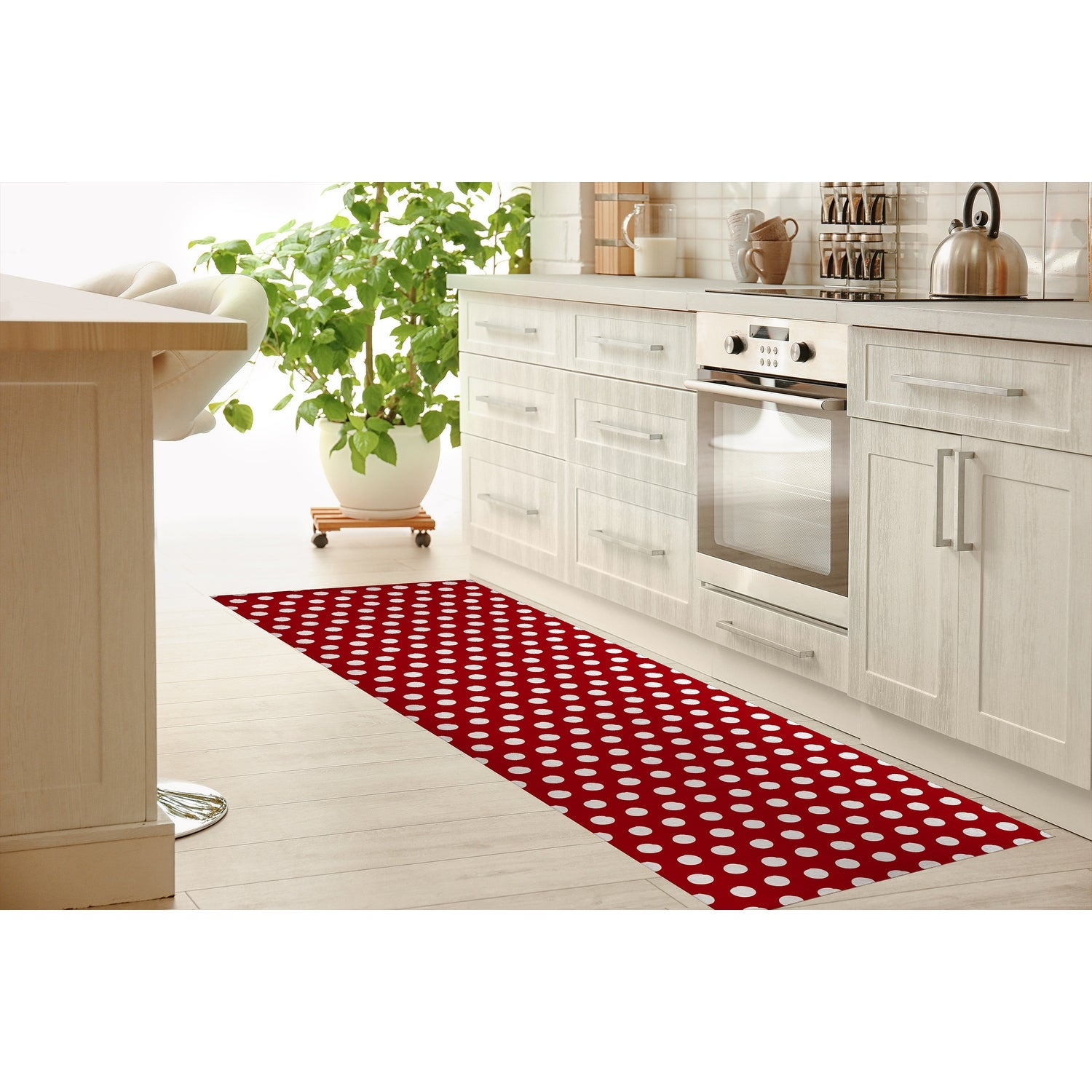 Big Polka Dots Red Kitchen Mat By Kavka Designs On Sale Overstock 30585774