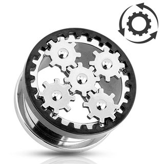 Steampunk Gear Screw-Fit Tunnel 316L Surgical Steel (Sold Ind.) (5 options available)