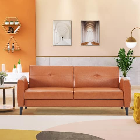 Nestfair Modern PU Leather Convertible Folding Futon Sofa Bed Loveseat with Storage Box