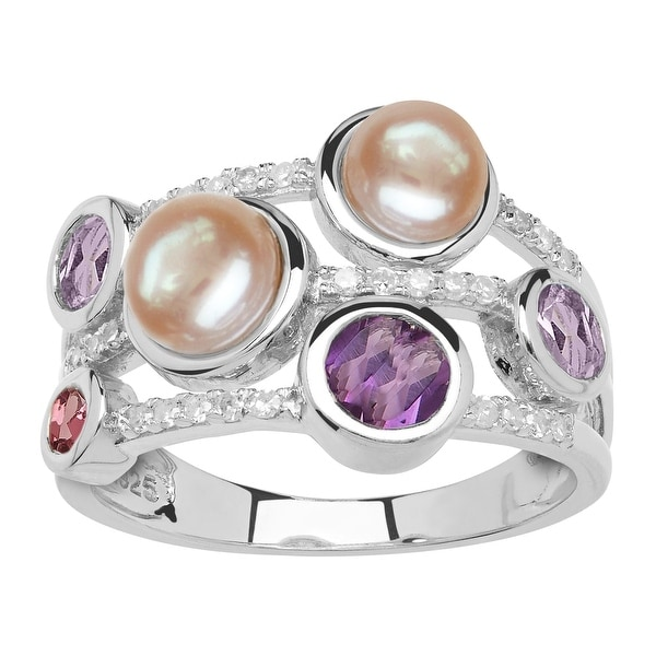 Freshwater Pearl, Amethyst, Tourmaline & 1/8 ct Diamond Banded Ring in Sterling Silver - Purple