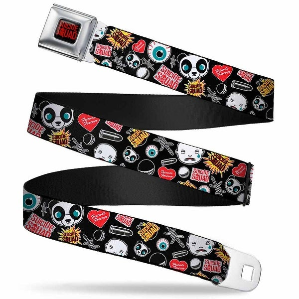 Suicide Squad Logo Full Color Black Red Suicide Squad Logos Icons Scattered Seatbelt Belt