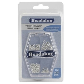 Beadalon Variety 4-Pack - Silver Plated Findings - Rings, Clasps And Tags (112)