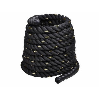 "Costway 1.5"" Workout Strength Training Undulation Poly Dacron Battle Rope Black (50ft)"