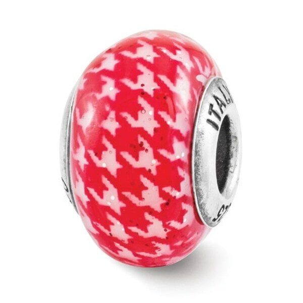 Italian Sterling Silver Reflections Red Checkered Overlay Bead (4mm Diameter Hole)