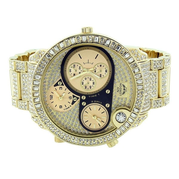 Iced Out Mens Watch NY London Gold Finish Chronograph Analog Display Stainless Steel Back Lab Diamonds