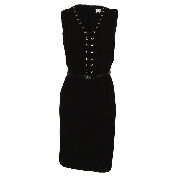 Calvin Klein Women's Belted Sleeveless V-Neck Dress - Black