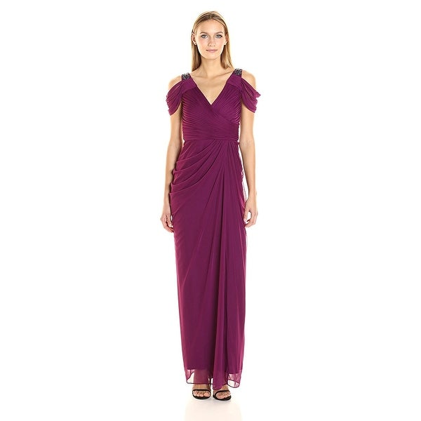 Shop Adrianna Papell Beaded Cold Shoulder Evening Gown Dress 14