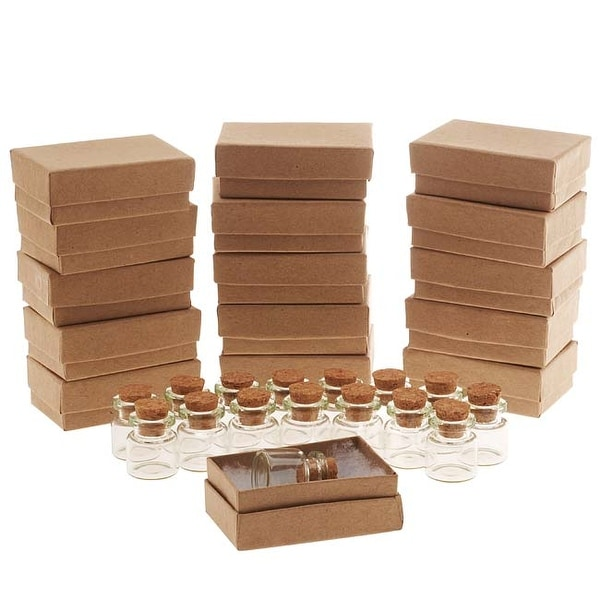 Green Glass Bottle With Cork 25x22mm And Kraft Brown Jewelry Boxes (16 Pieces Of Each)