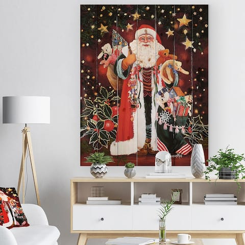 Designart 'Happy Santa Claus Magic of Christmas' Print on Natural Pine Wood - Red
