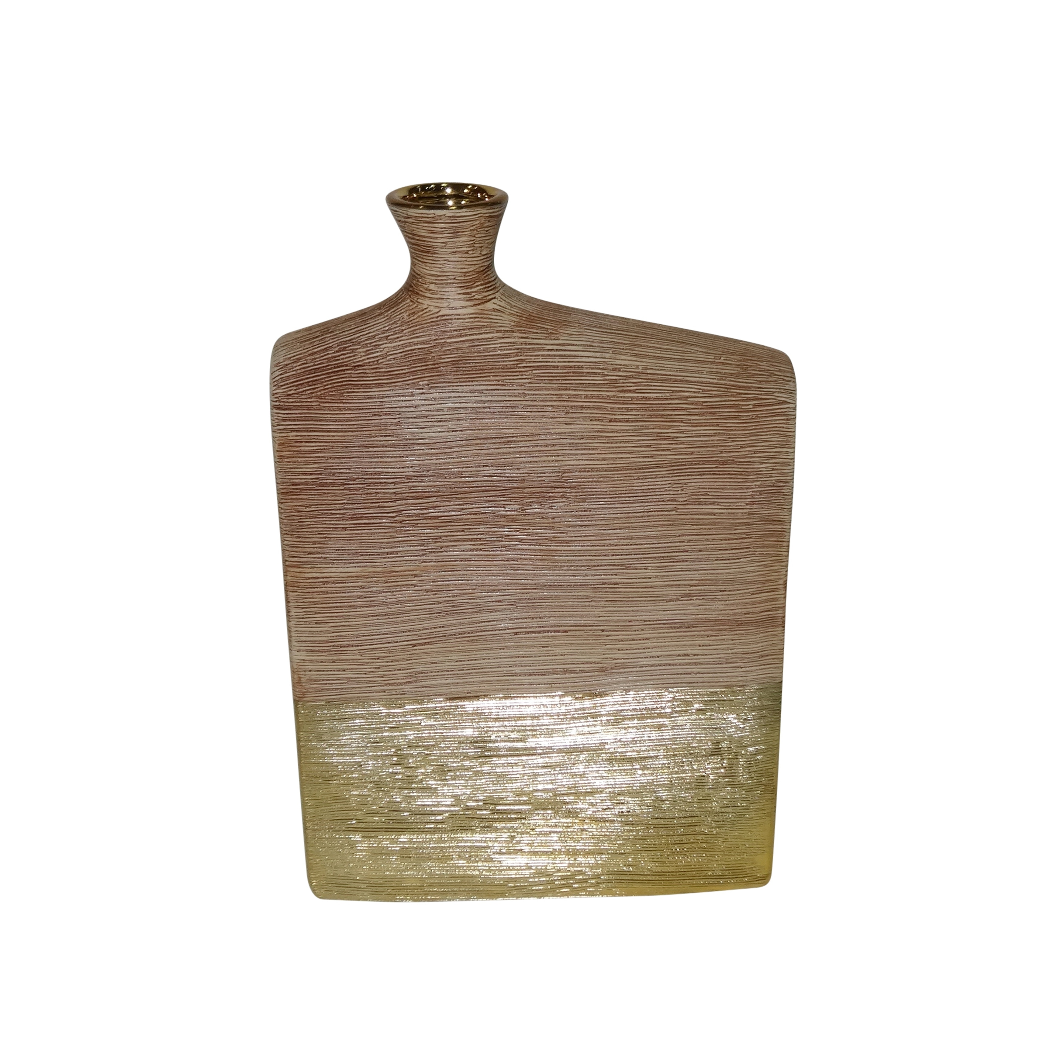 Textured Wide Ceramic Vase with Narrow Opening , Brown and Gold