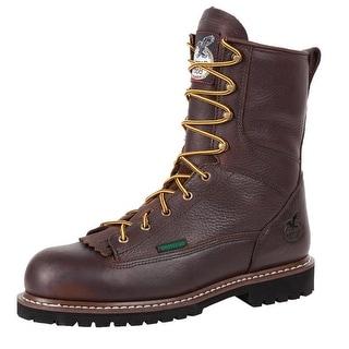 "Georgia Boot Work Mens 8"" Waterproof ST Lace to Toe Chocolate G103"
